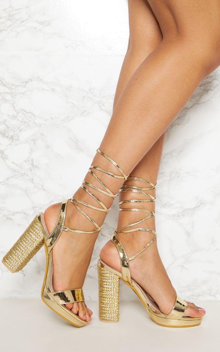 Gold Espadrille Platform Leg Tie Sandal
