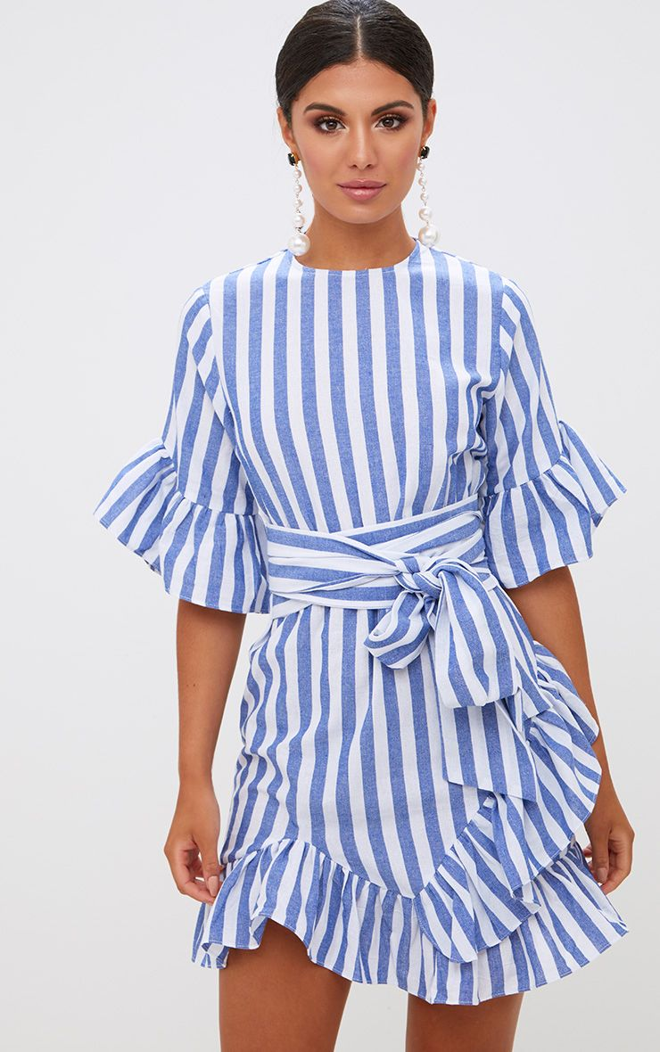 Blue Stripe Frill Detail Mini Dress