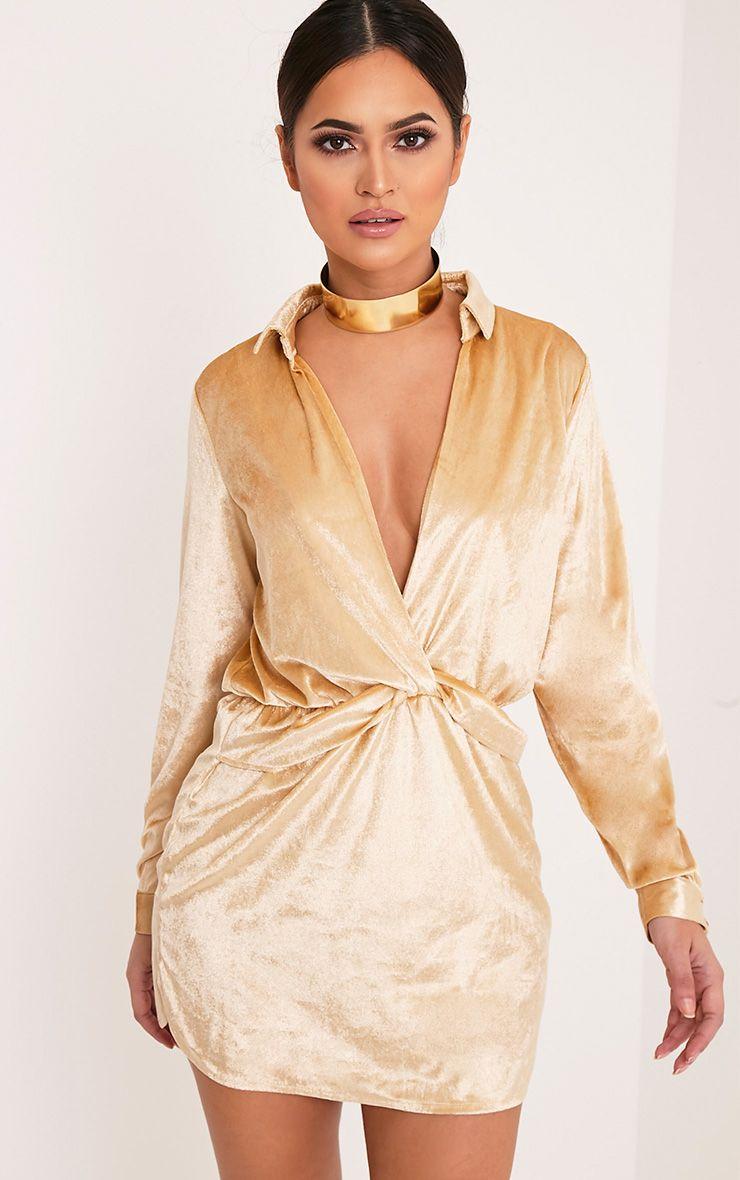 Kaliah Champagne Velvet Twist Front Shift Dress