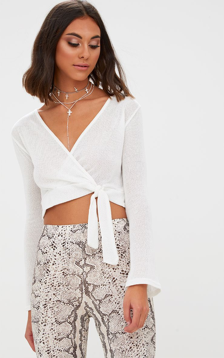 Cream Lightweight Knit Wrap Tie Longsleeve Crop Top