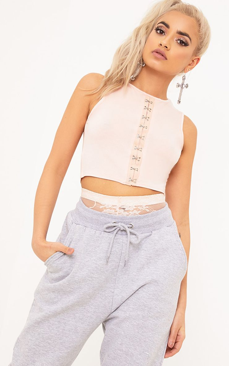 Noley Nude Jersey Hook and Eye Sleeveless Crop Top