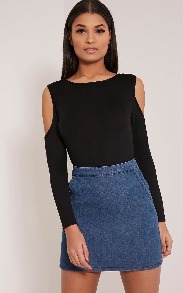Tracy Black Cold Shoulder Tunic Top 1