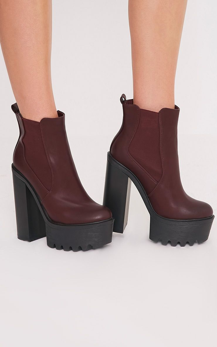 Aerin Burgundy Cleated Sole Platform Ankle Boots 1
