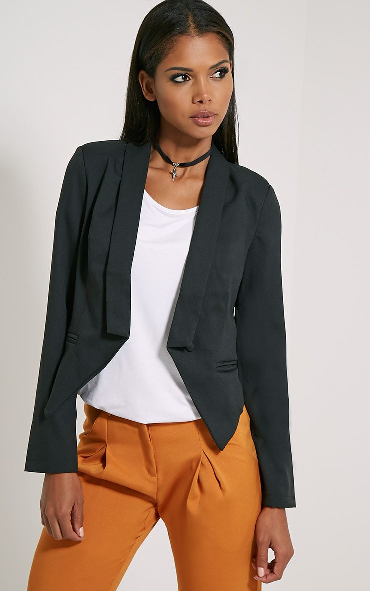 Jaida Black Tailored Cropped Blazer 1