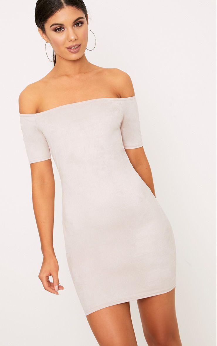 Cassandra Stone Suede Bardot Cap Sleeve Bodycon Dress