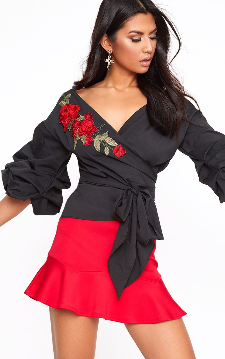 Black Floral Applique Ruched Frill Sleeve Wrap Shirt