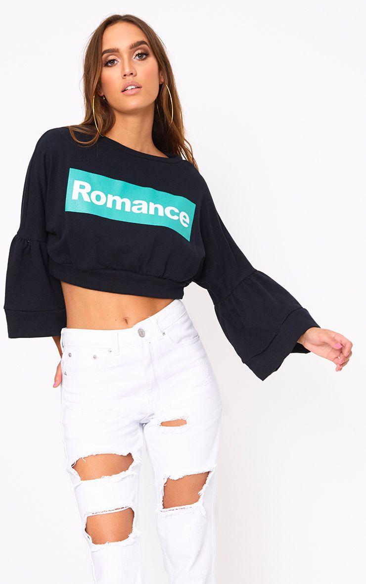 Black Romance Slogan Balloon Sleeve Cropped Sweater