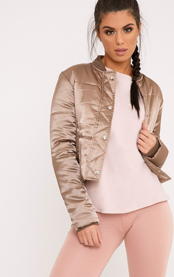 Mariem Light Khaki Cropped Satin Puffer Jacket