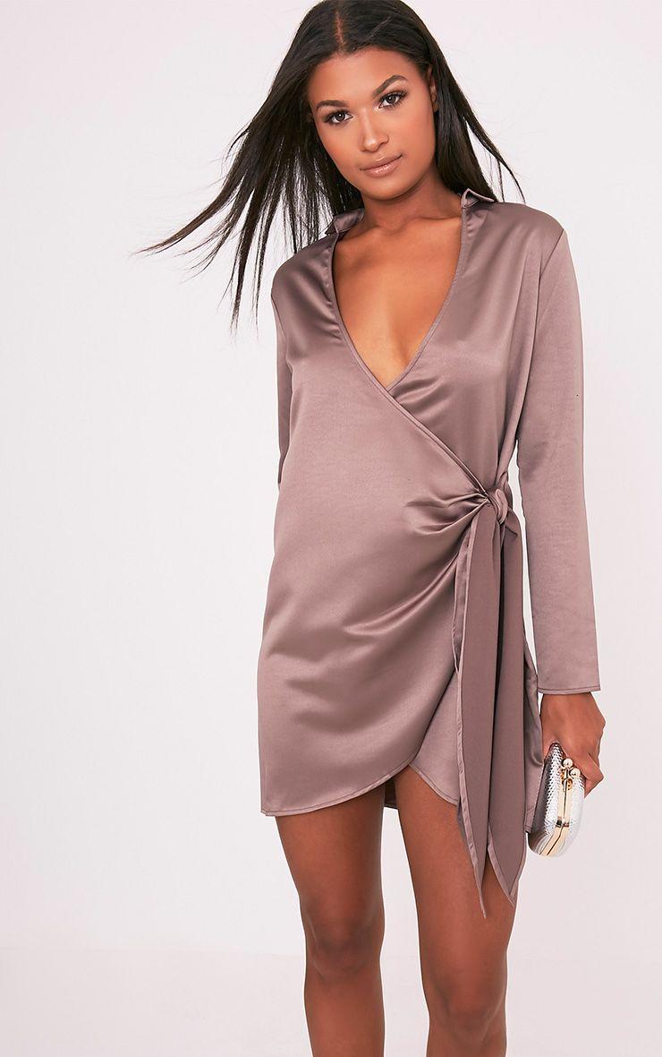 Shaylene Mocha Tie Side Satin Shirt Dress