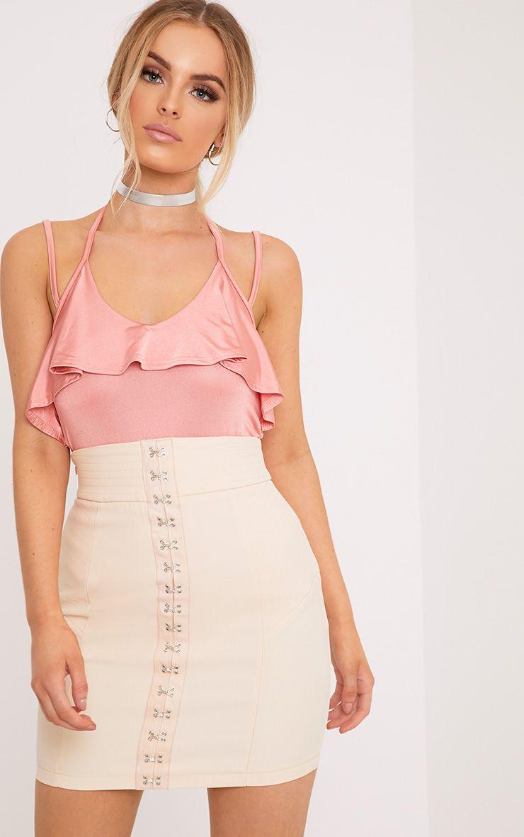 Avelina Pink Slinky Choker Frill Thong Bodysuit