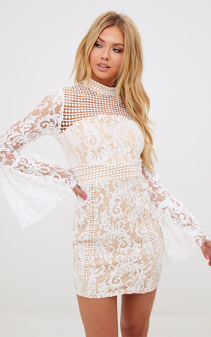 White Crochet Lace Flared Cuff Bodycon Dress