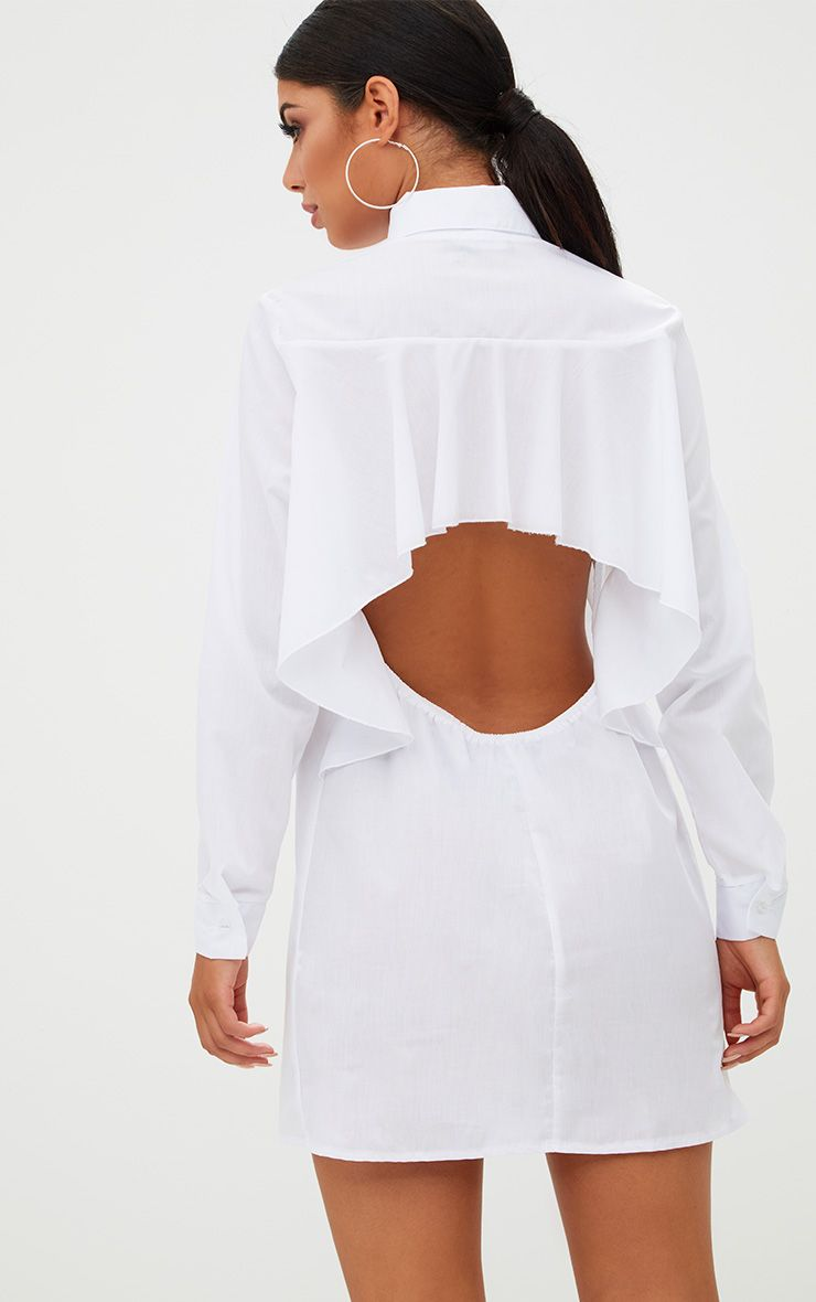 White Open Frill Back Shirt Dress