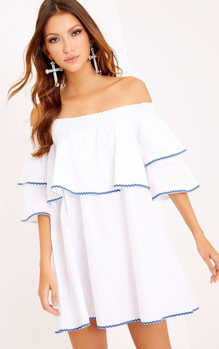 Cecillia Ruffle Blue Embroidered Shift Dress White