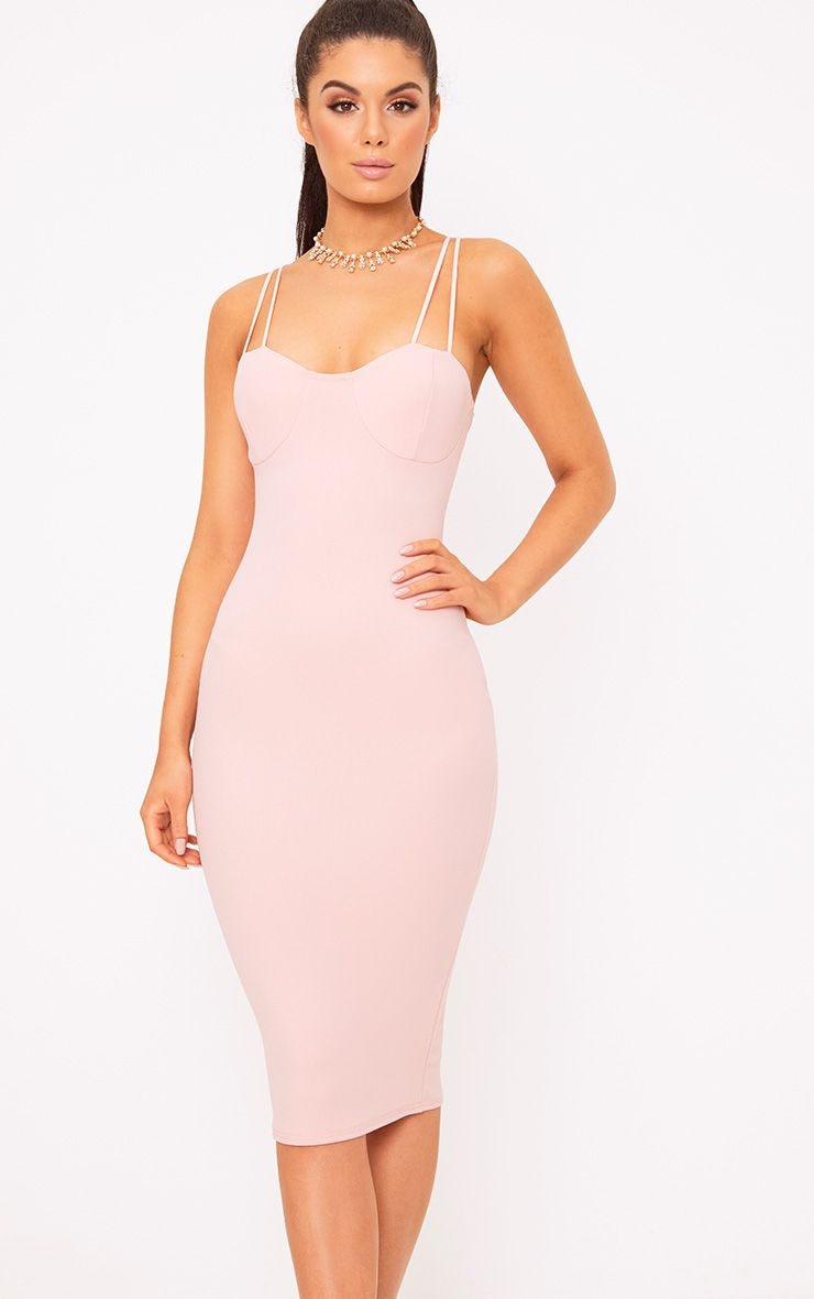 Nude Strap Detail Bust Cup Midi Dress