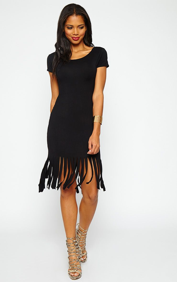 Elyza Black Jersey Tassel Dress 1
