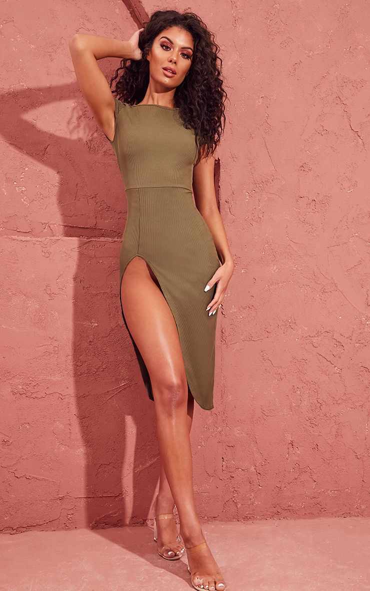 Khaki Ribbed Extreme Split Cap Sleeve Midi Dress