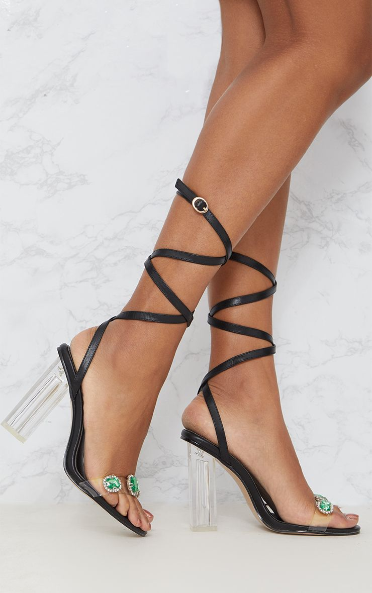 Black Jewelled Lace Up Heels