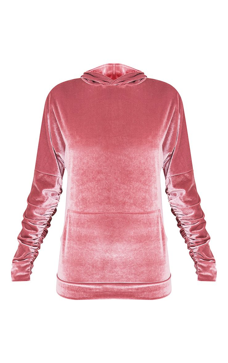 Mai Dusty Pink Velvet Pocket Front Ruched Sleeve Hoodie 3