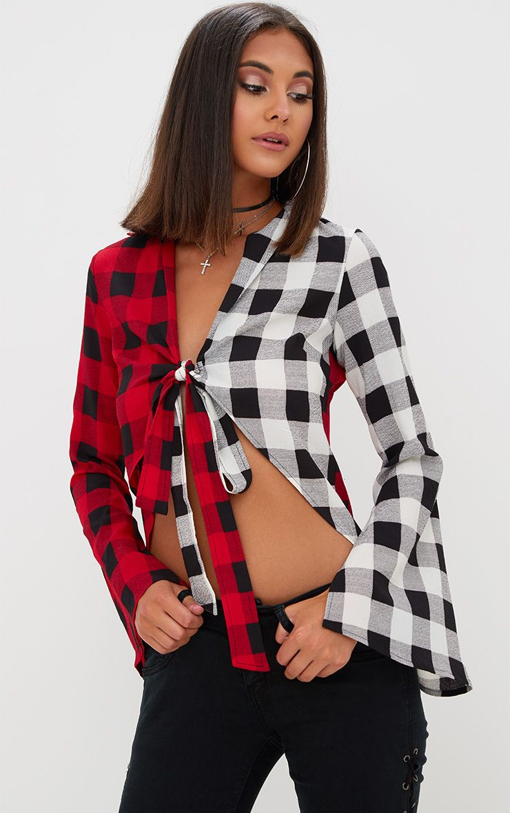 Red Spliced Check Tie Shirt