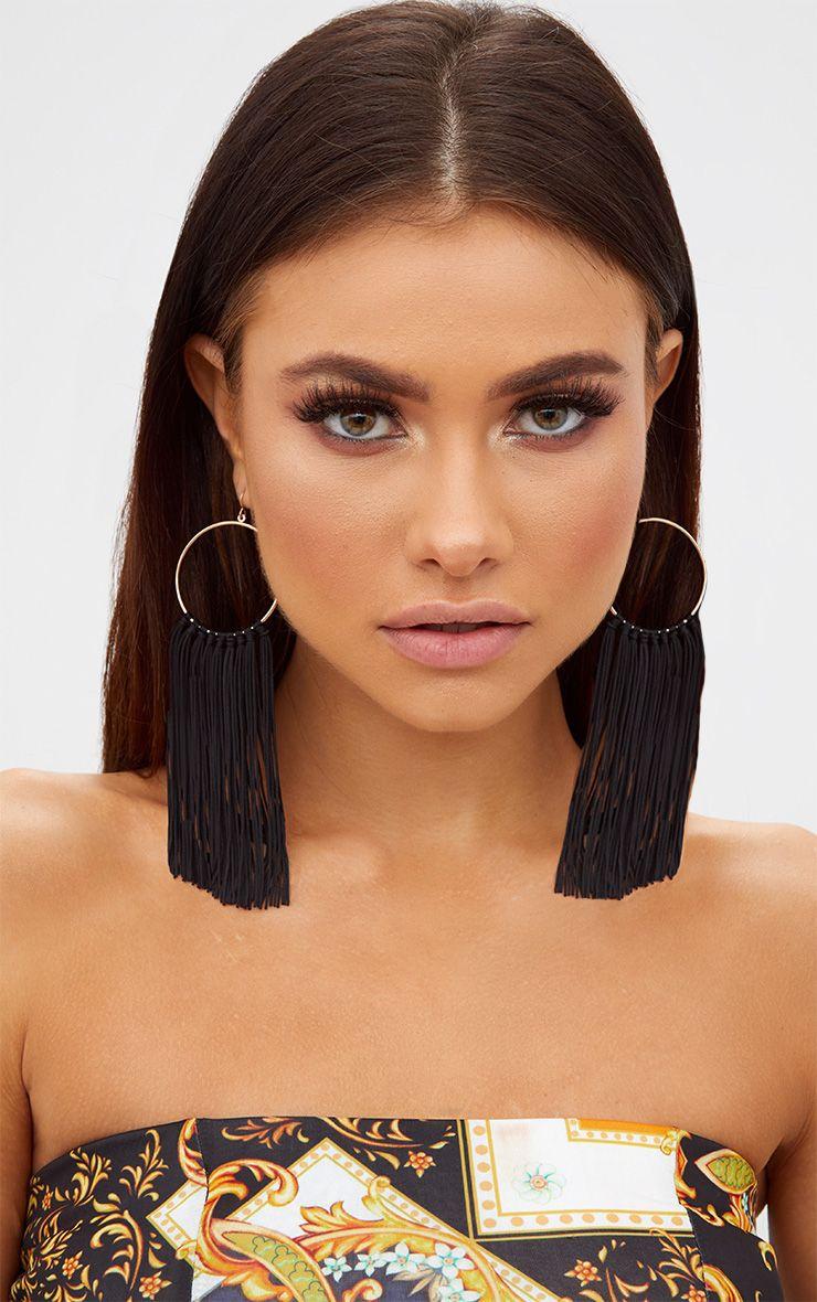 Black Drop Tassel Hoop Earrings
