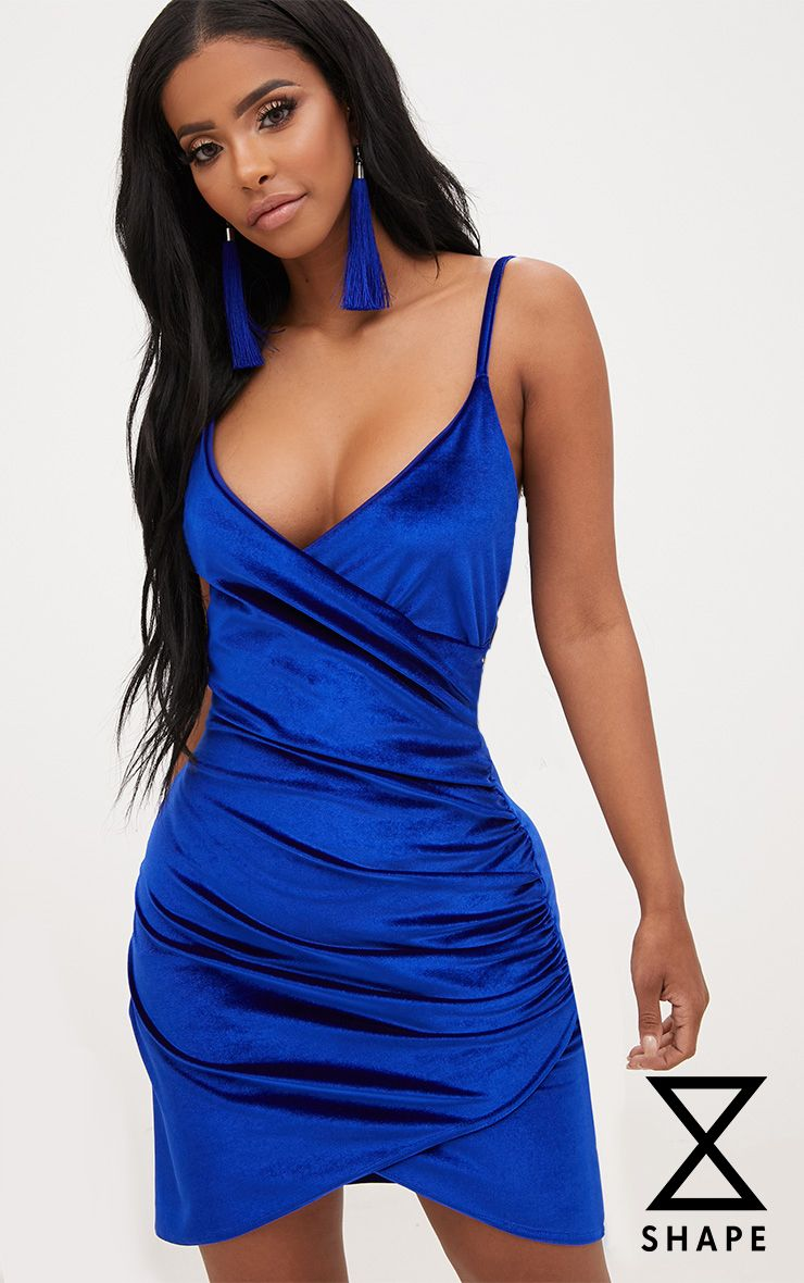 Shape Cobalt Velvet Wrap Front Dress