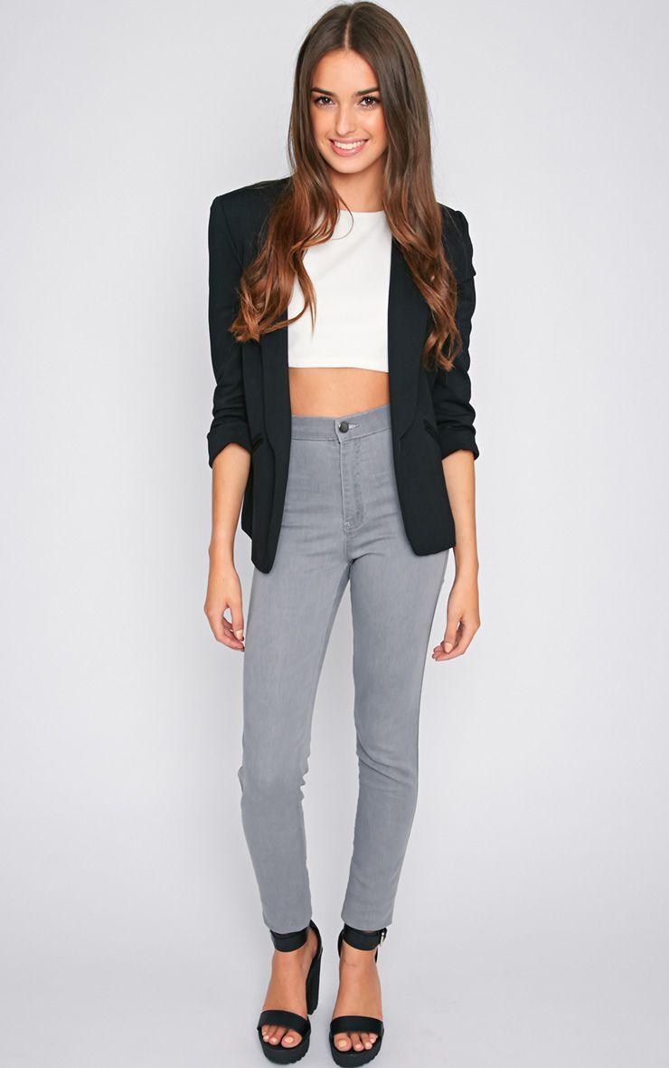 Dina Grey High Waist Skinny Jean  1