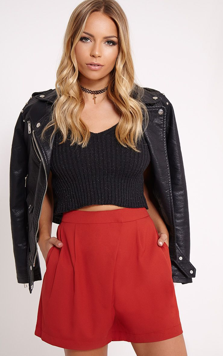 Patricia Rust Loose Fit Tailored Shorts 1