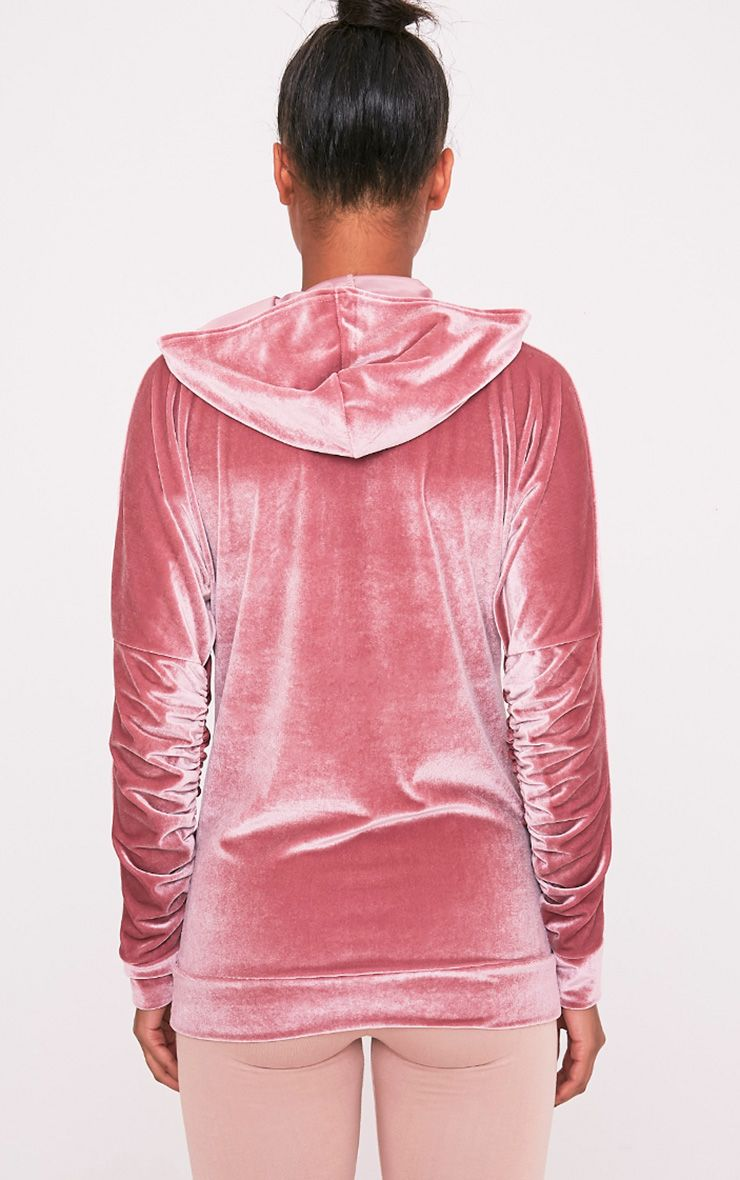 Mai Dusty Pink Velvet Pocket Front Ruched Sleeve Hoodie 2