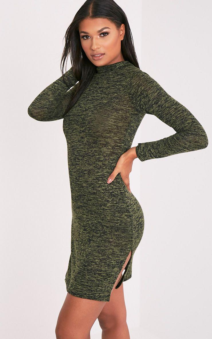 Nesta robe col montant fendue à manches longues kaki 4