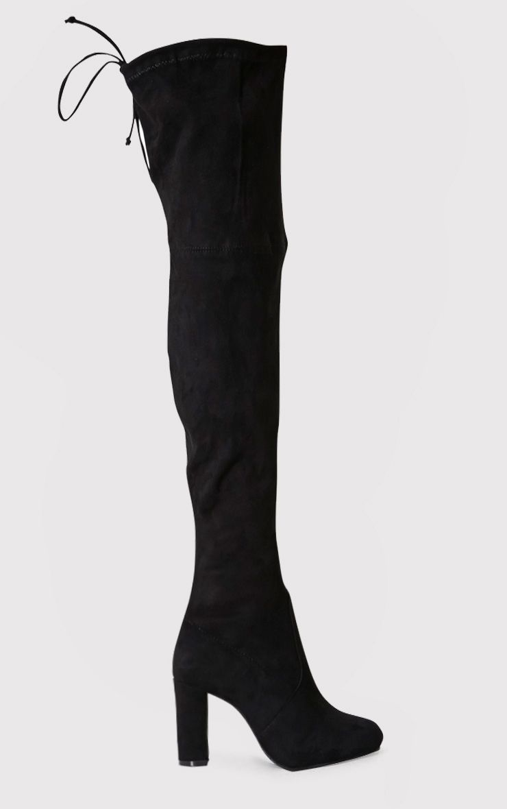 Bess Black Faux Suede Heel Thigh Boots