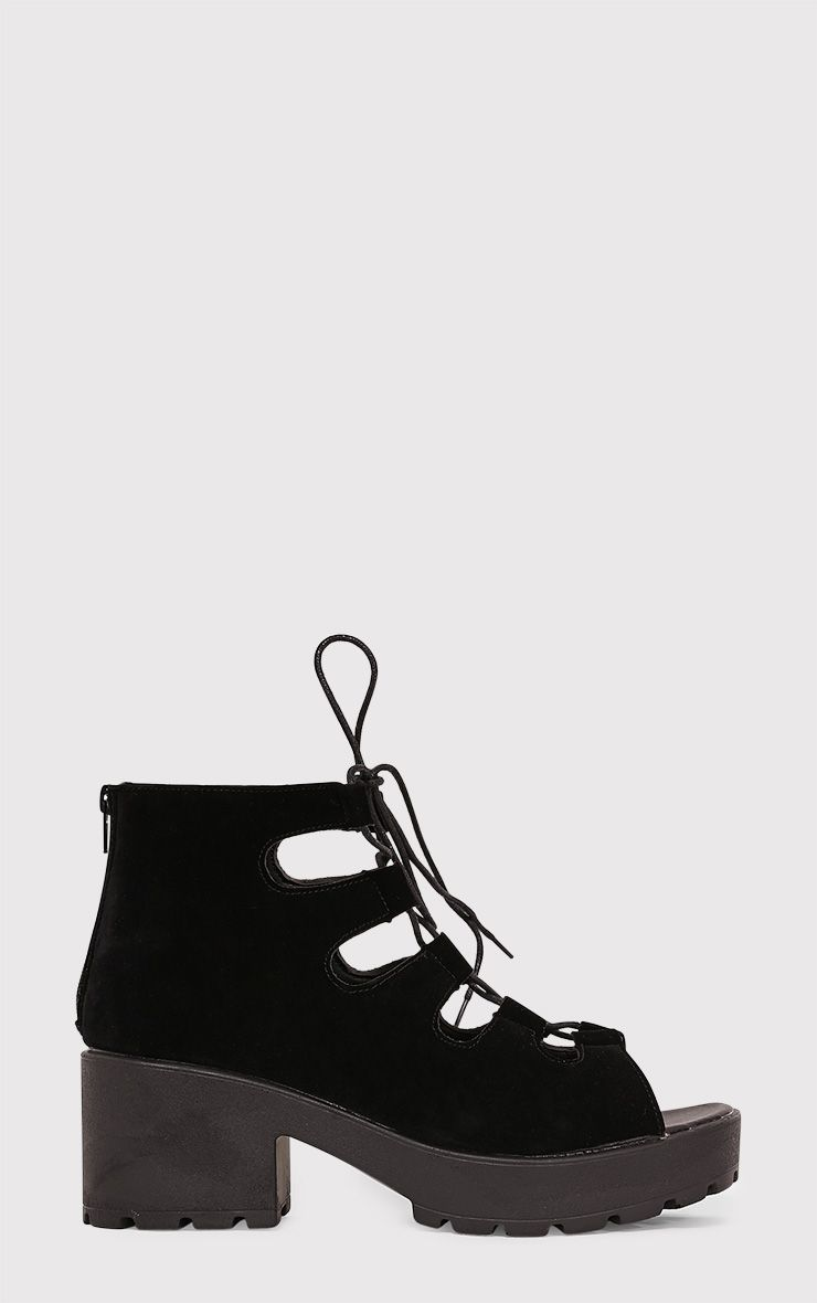 Caprice Black Faux Suede Lace Up Sandals