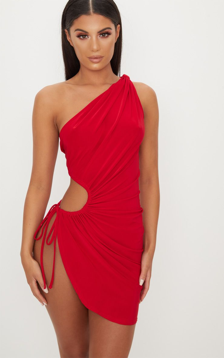 Red Slinky Ruched Side Cut Out Bodycon Dress