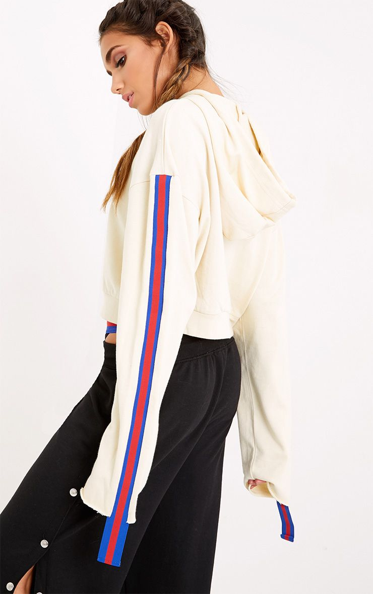 Ryleigh Chalk Zip Front Extreme Tape Sleeve Hoodie.