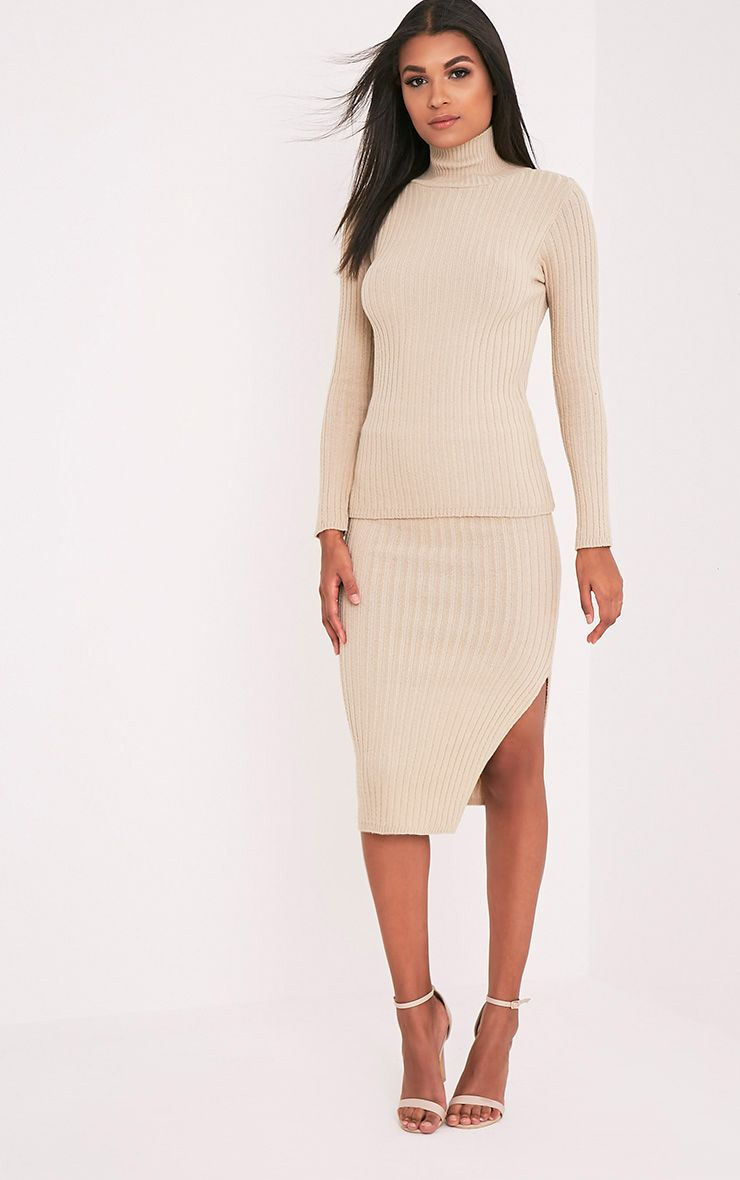 Usmelda Stone Ribbed Knitted Midi Skirt
