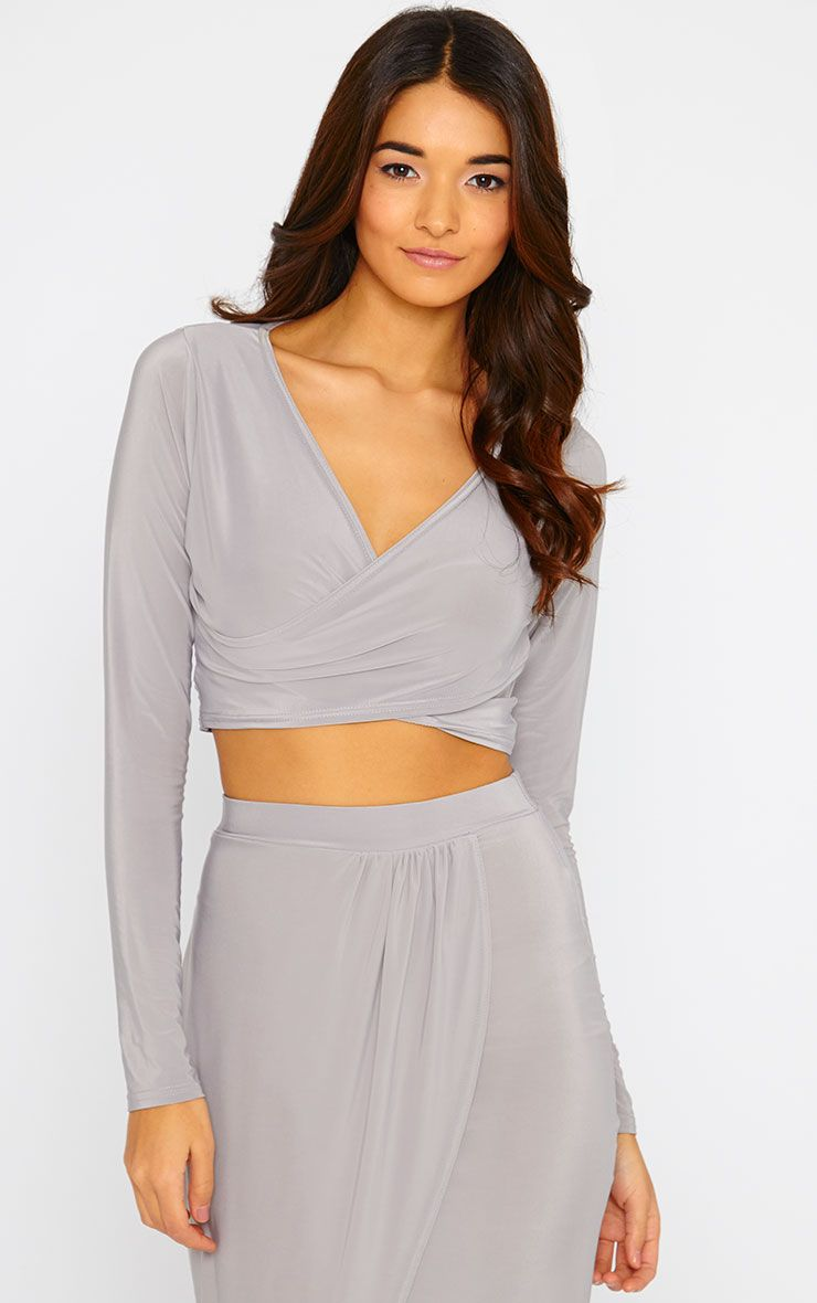 Ginevia Grey Slinky Wrap Front Crop Top  1