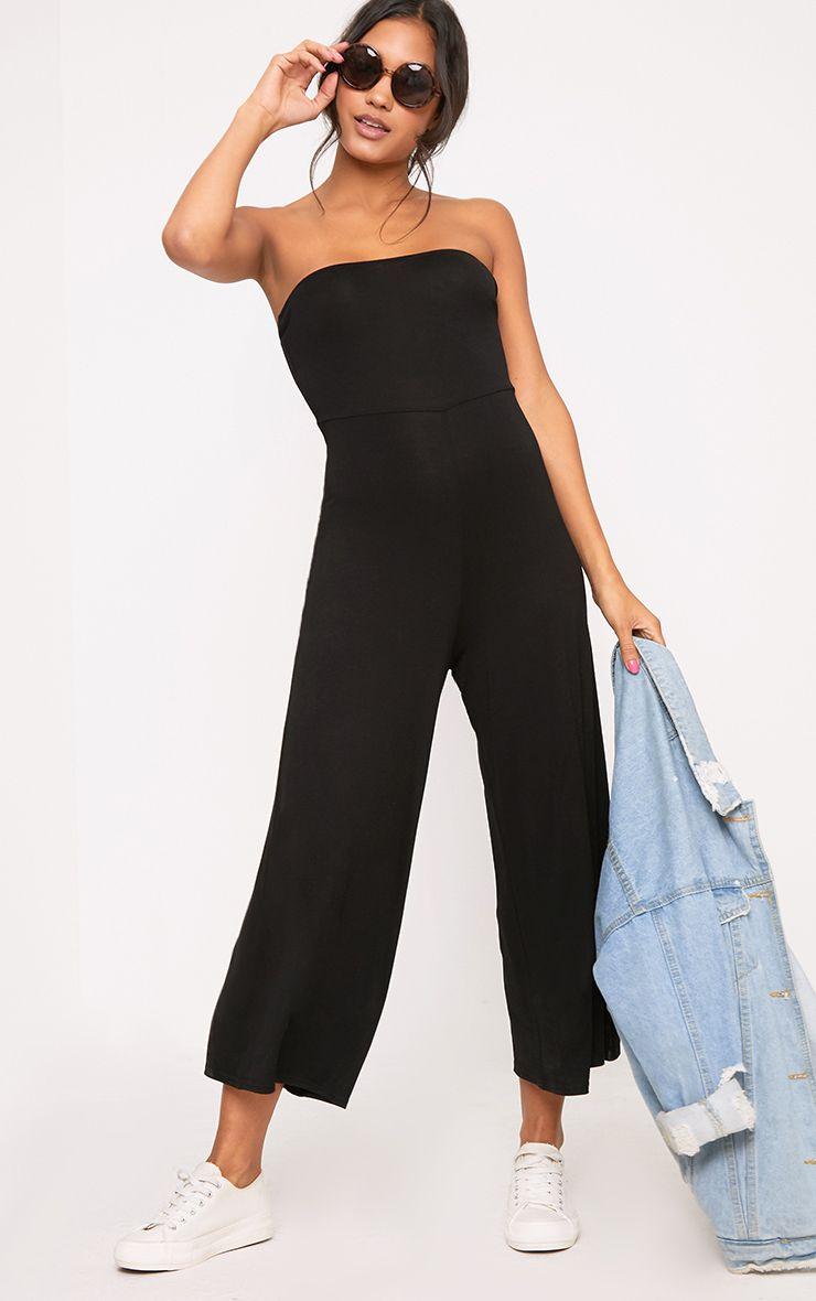 Black Culotte Bandeau Jumpsuit