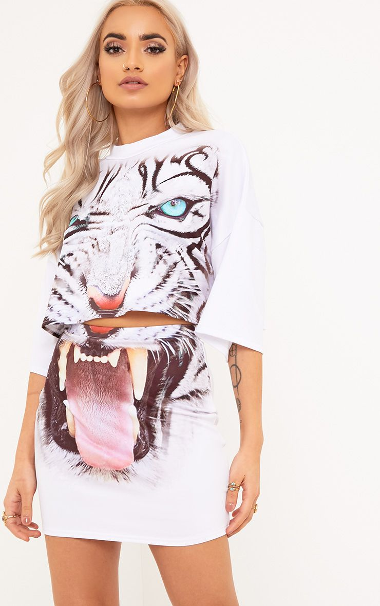 Tiger Print White Mini Skirt