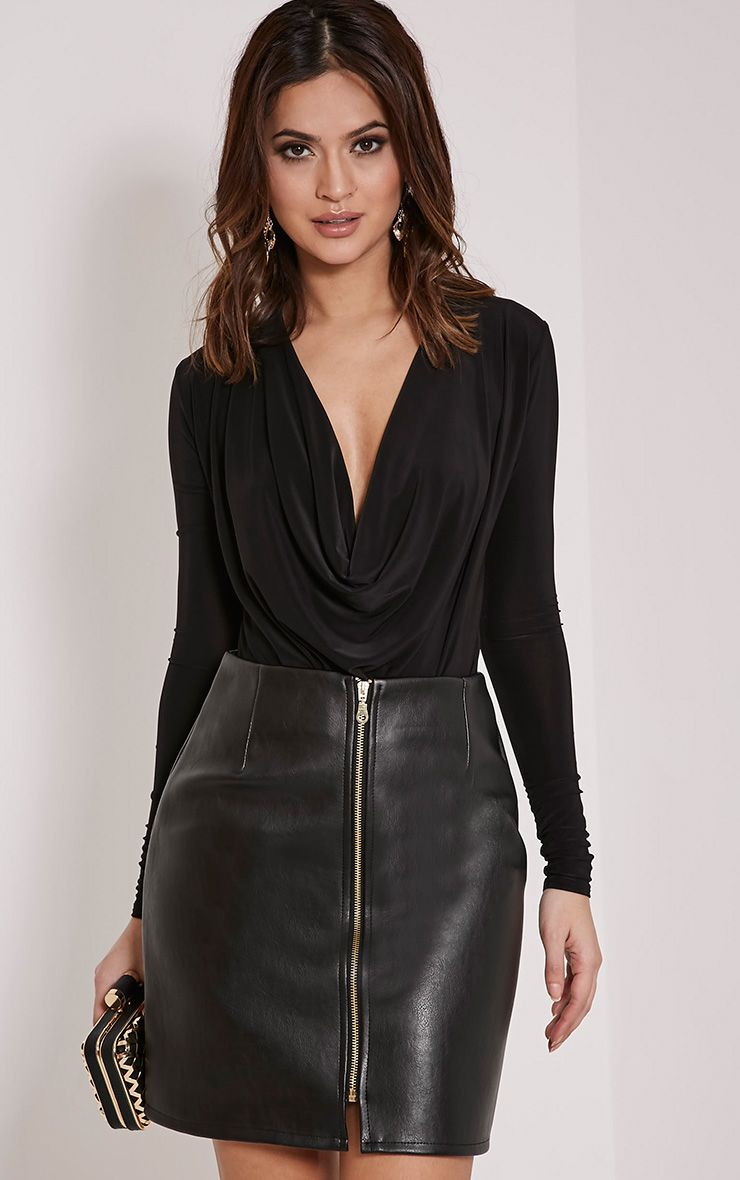 Chandra Black Faux Leather Zip Up Mini Skirt 1
