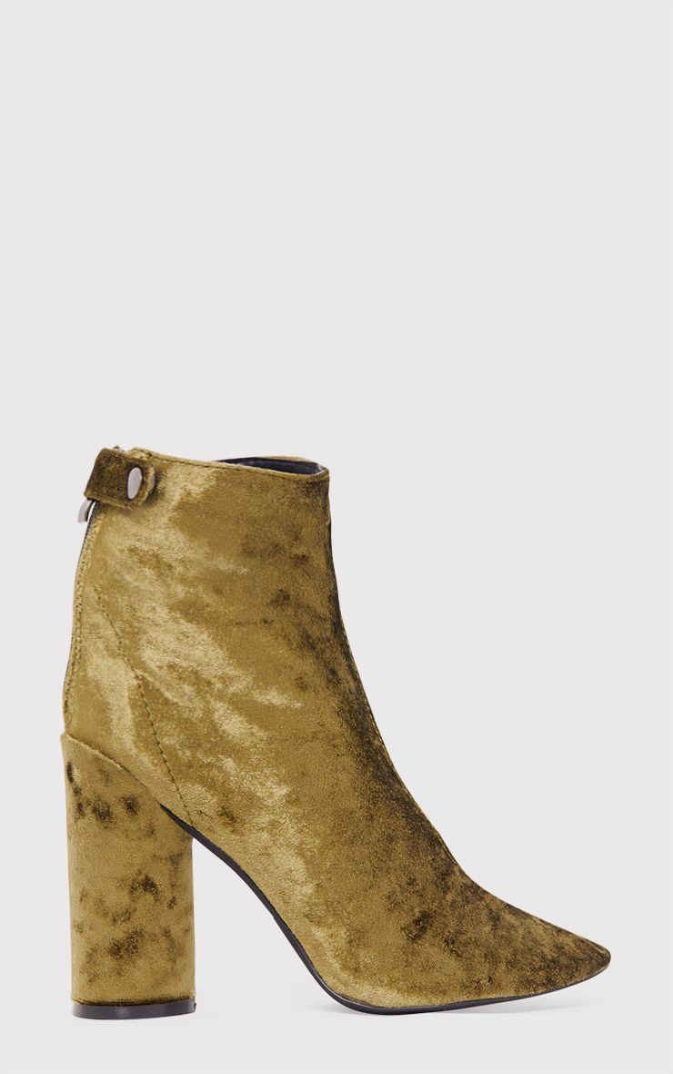 Amie Olive Velvet Heeled Ankle Boots 2