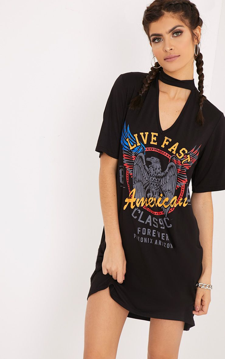Live Fast Americans Black Choker T shirt Dress