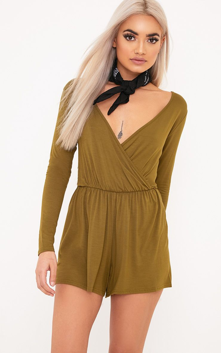 Alishah Dark Olive Basic Playsuit