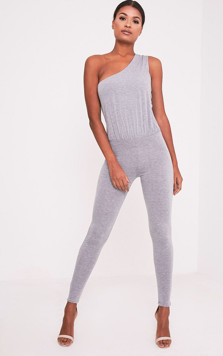 Jess Grey One Shoulder Jersey Jumpsuit