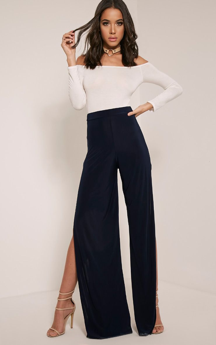 Darsee Navy Side Split Slinky Trousers 1