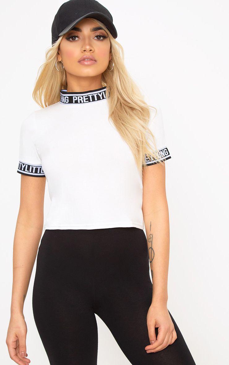 Cream PrettyLittleThing Trim Crop T Shirt