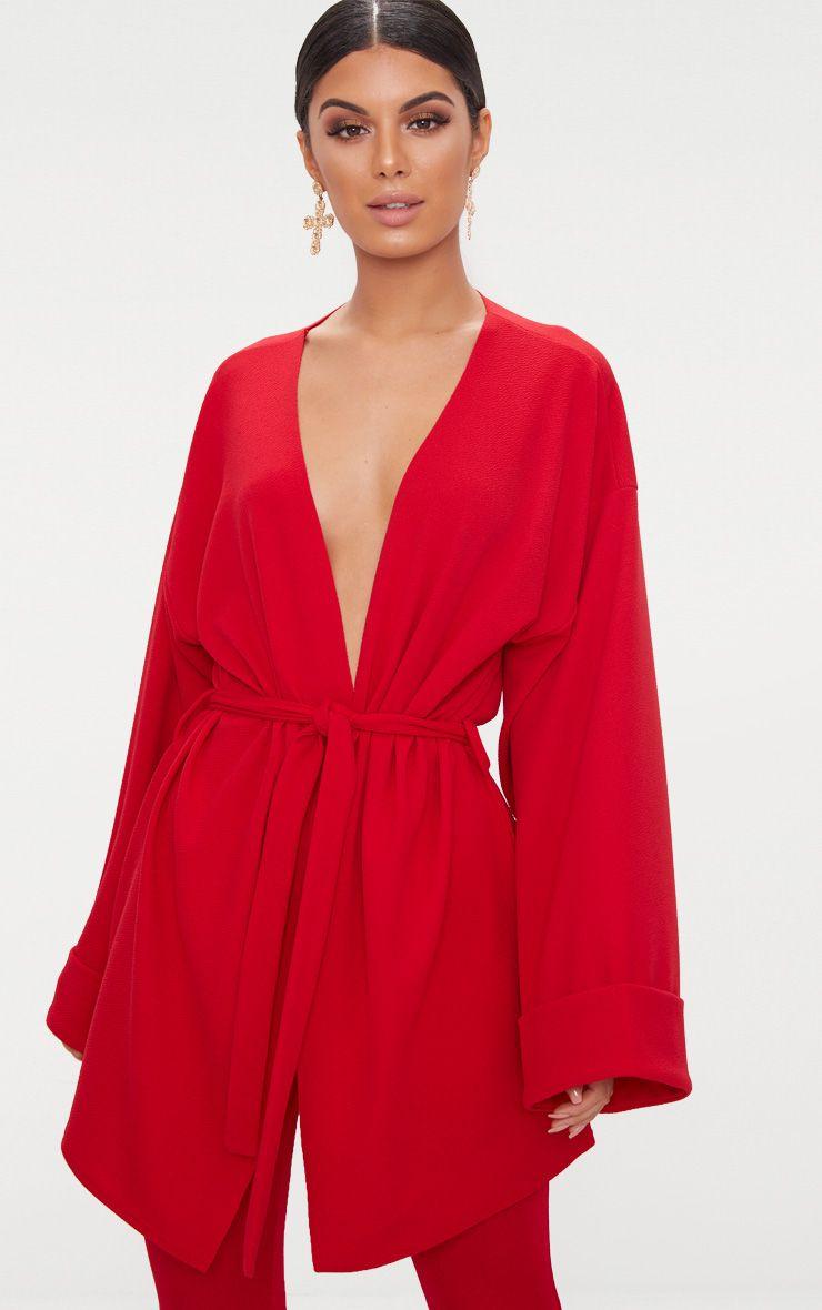 Red Belted Oversized Sleeve Blazer