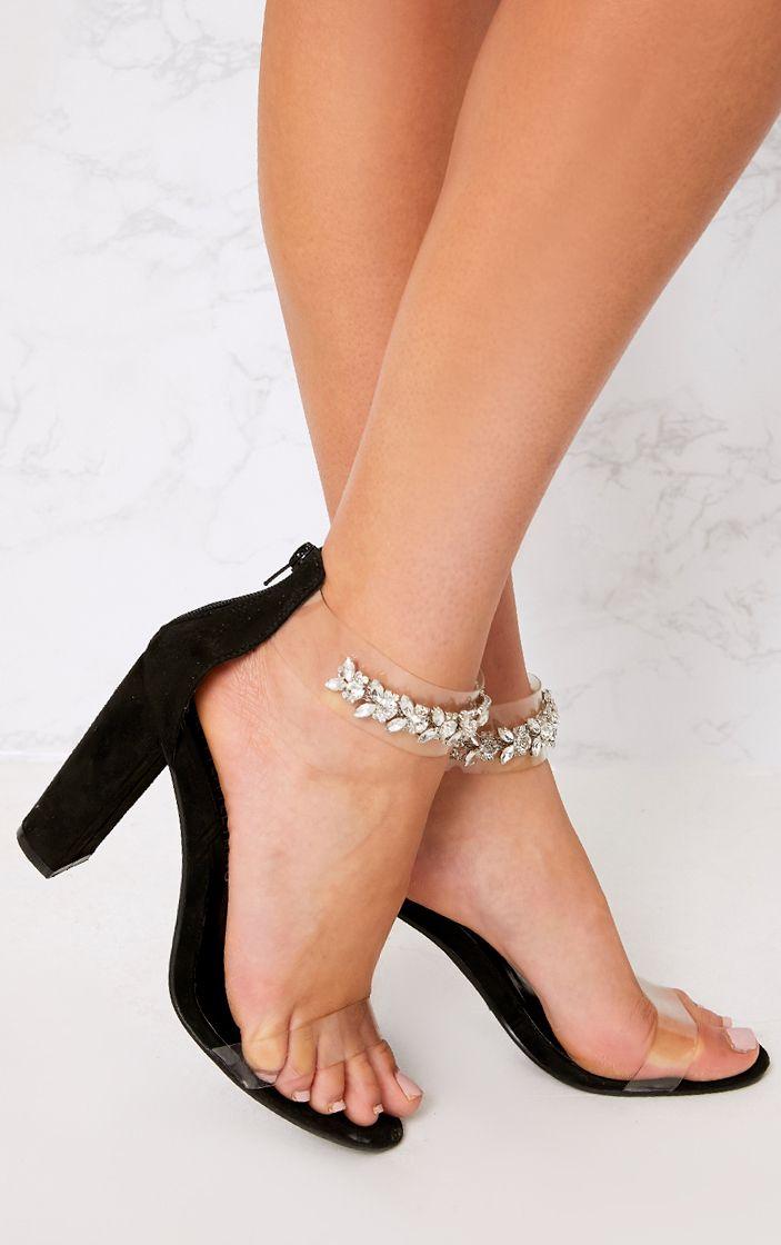Kelle Black Jewelled Strap Heeled Sandals