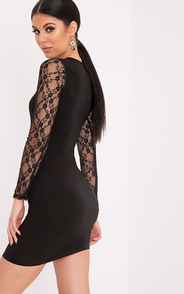 Madison Black Lace Long Sleeve Slinky Bodycon Dress