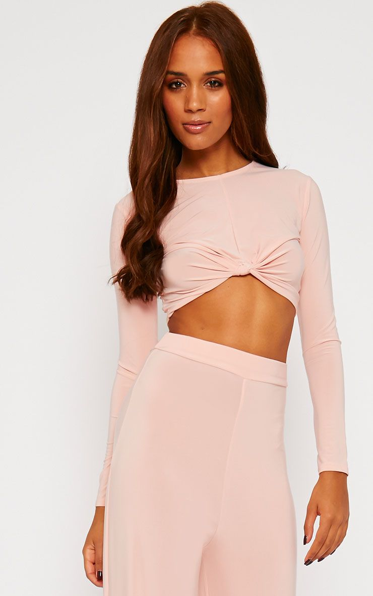 Zafia Nude Knot Front Crop Top 1