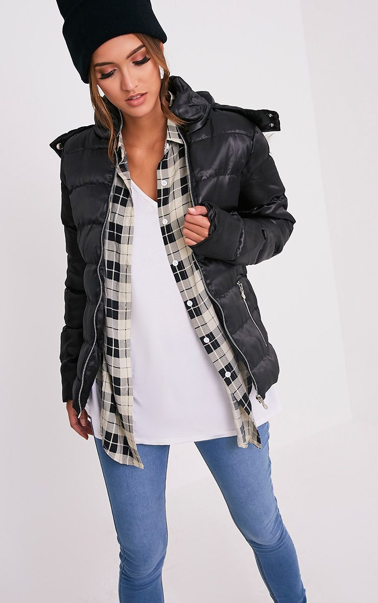 Aberfa Black Faux Fur Trim Puffa Jacket