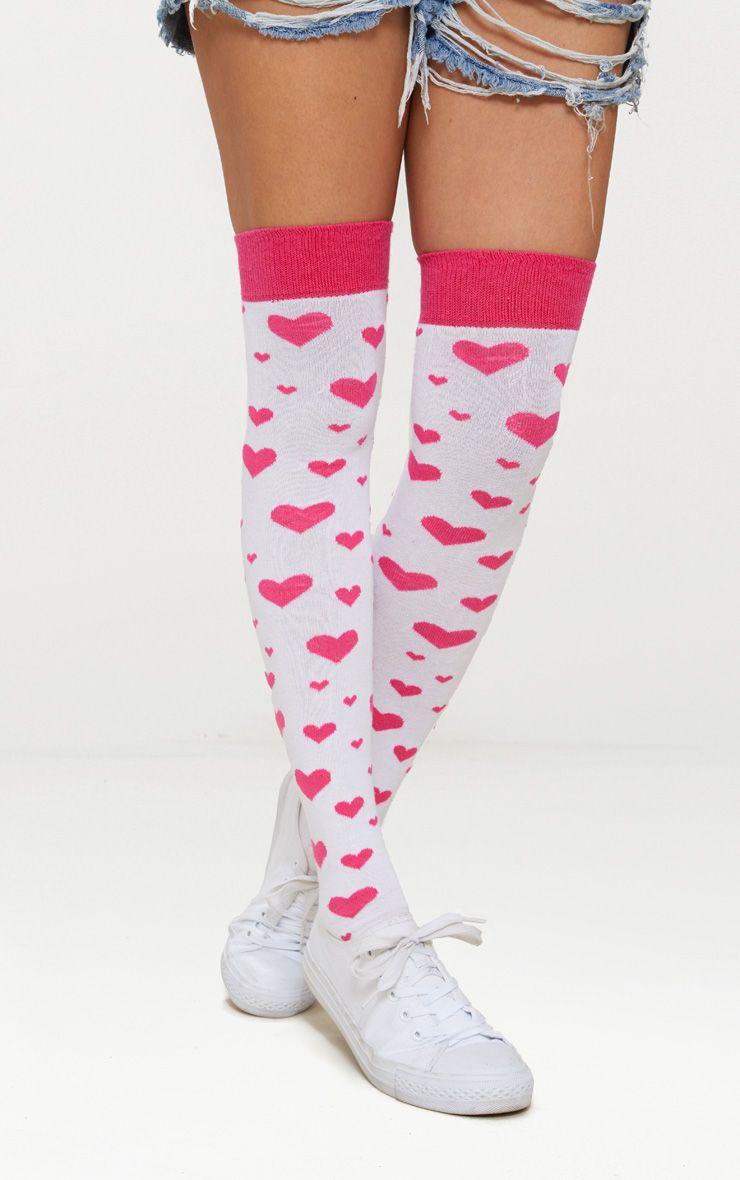 Pink Heart Over Knee Socks